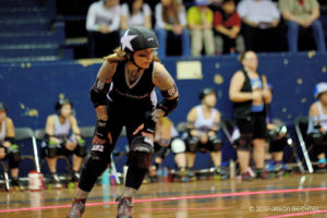 Nuk'em jamming for the Cincinnati Rollergirls